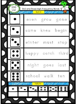 Sight Word Roll and Read: 200 High Frequency Words- Fountas & Pinnell