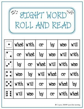 Sight Word Roll and Read Activity