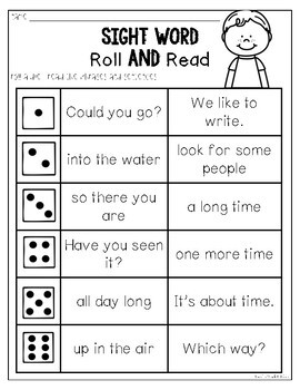 Sight Word Roll and Read {FREEBIE}