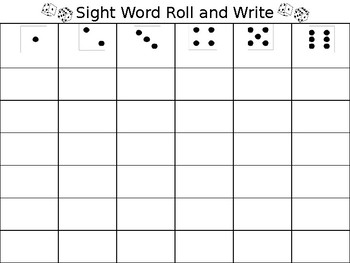 Sight Word Roll and Write Board