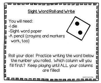 Sight Word Roll and Write - Grade 2!