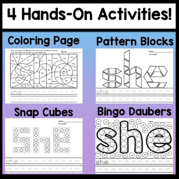 Sight Word SHE {2 Sight Word Books and 4 Worksheets!}