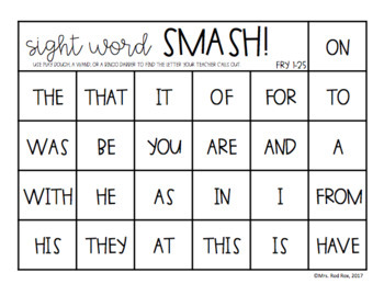 Sight Word SMASH!! Sight Word Recognition
