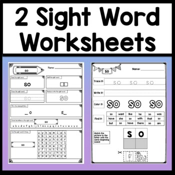 Sight Word SO {2 Sight Word Books and 4 Worksheets!}