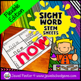 Sight Word STEM Sheets for Kindergarten and 1st Grade (Fle