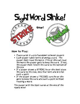 Sight Word STRIKE!