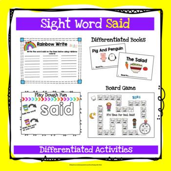 Sight Word Said Activities