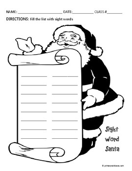 Sight Word Santa Holiday Themed Word Work