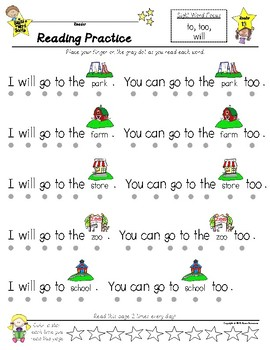 READING Practice Pages --- Sight Word Savvy