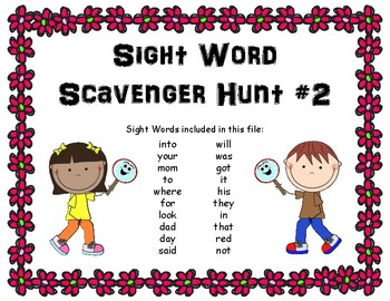 Sight Word Scavenger Hunt #2