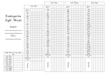 Sight Word School Recording Sheet
