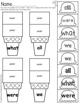Sight Word Scoops (Fry's First 100 Sight Words)