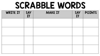 Sight Word Scrabble Activity