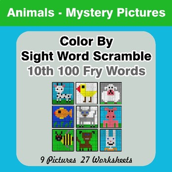 Sight Word Scramble - Animals Mystery Pictures - 10th 100 Fry Words