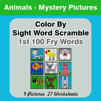 Sight Word Scramble - Animals Mystery Pictures - 1st 100 Fry Words