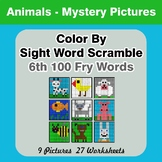 Sight Word Scramble - Animals Mystery Pictures - 6th 100 F