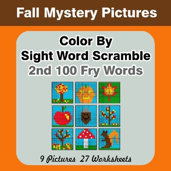 Sight Word Scramble - Autumn Mystery Pictures - 2nd 100 Fry Words