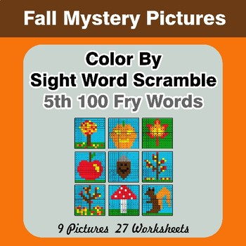 Sight Word Scramble - Autumn Mystery Pictures - 5th 100 Fry Words