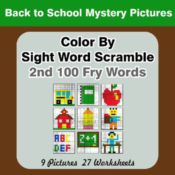 Sight Word Scramble - Back To School Mystery Pictures - 2nd 100 Fry Words