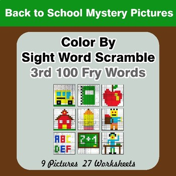 Sight Word Scramble - Back To School Mystery Pictures - 3rd 100 Fry Words