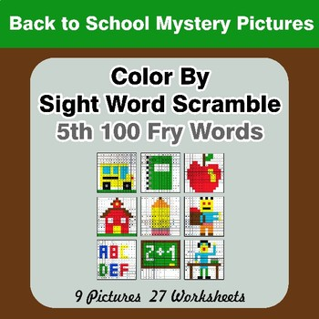 Sight Word Scramble - Back To School Mystery Pictures - 5th 100 Fry Words