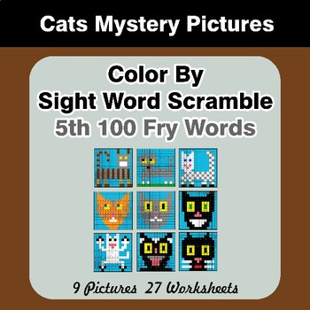 Sight Word Scramble - Cats Mystery Pictures - 5th 100 Fry Words