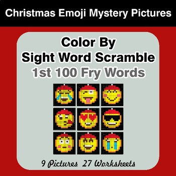 Sight Word Scramble - Christmas Emoji Mystery Pictures - 1st 100 Fry Words