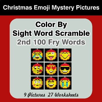 Sight Word Scramble - Christmas Emoji Mystery Pictures - 2nd 100 Fry Words