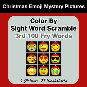 Sight Word Scramble - Christmas Emoji Mystery Pictures - 3rd 100 Fry Words