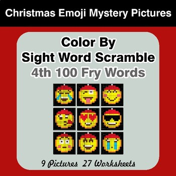 Sight Word Scramble - Christmas Emoji Mystery Pictures - 4th 100 Fry Words