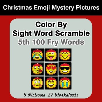 Sight Word Scramble - Christmas Emoji Mystery Pictures - 5th 100 Fry Words