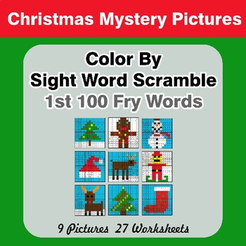 Sight Word Scramble - Christmas Mystery Pictures - 1st 100 Fry Words