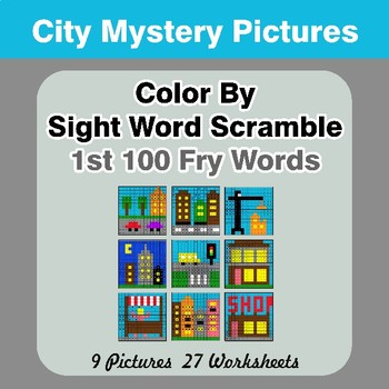 Sight Word Scramble - City Mystery Pictures - 1st 100 Fry Words