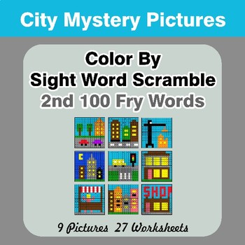 Sight Word Scramble - City Mystery Pictures - 2nd 100 Fry Words