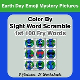 Sight Word Scramble - Earth Day Emoji Mystery Pictures - 1st 100 Fry Words