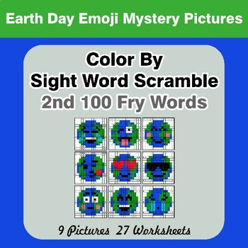 Sight Word Scramble - Earth Day Emoji Mystery Pictures - 2nd 100 Fry Words