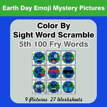 Sight Word Scramble - Earth Day Emoji Mystery Pictures - 5th 100 Fry Words