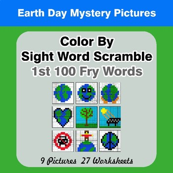 Sight Word Scramble - Earth Day Mystery Pictures - 1st 100 Fry Words