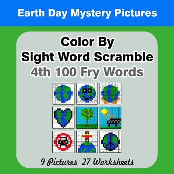 Sight Word Scramble - Earth Day Mystery Pictures - 4th 100 Fry Words