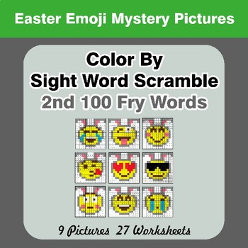 Sight Word Scramble - Easter Emoji Mystery Pictures - 2nd 100 Fry Words