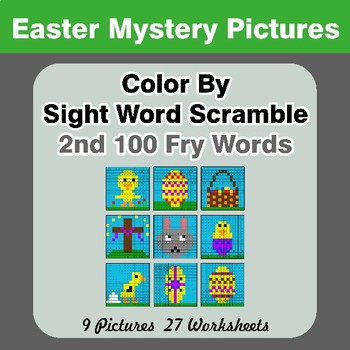 Sight Word Scramble - Easter Mystery Pictures - 2nd 100 Fry Words
