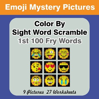 Sight Word Scramble - Emoji Mystery Pictures - 1st 100 Fry Words