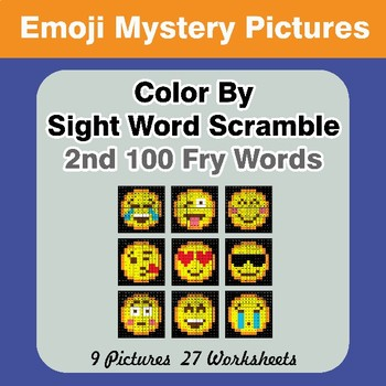 Sight Word Scramble - Emoji Mystery Pictures - 2nd 100 Fry Words
