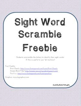 Sight Word Scramble Freebie!