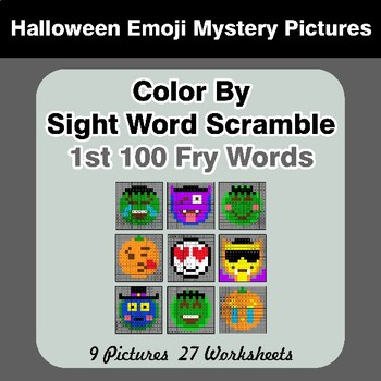 Sight Word Scramble - Halloween Emoji Mystery Pictures - 1st 100 Fry Words