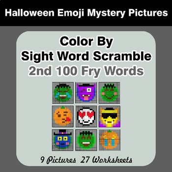 Sight Word Scramble - Halloween Emoji Mystery Pictures - 2nd 100 Fry Words
