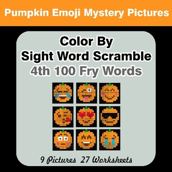Sight Word Scramble - Halloween Emoji Mystery Pictures - 4th 100 Fry Words