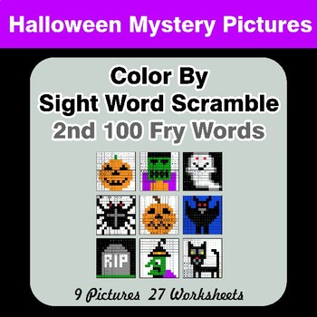 Sight Word Scramble - Halloween Mystery Pictures - 2nd 100 Fry Words