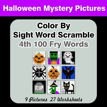 Sight Word Scramble - Halloween Mystery Pictures - 4th 100 Fry Words