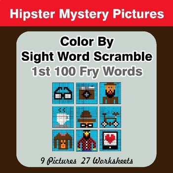 Sight Word Scramble - Hipsters Mystery Pictures - 1st 100 Fry Words